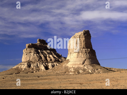 geography / travel, USA, Nebraska, Bridgeport, landscapes, rock formations Courthouse Rock and Jail Rock, Additional - Stock Photo