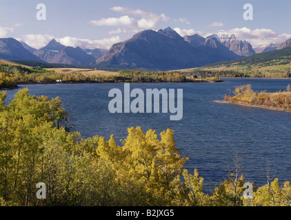 geography / travel, USA, Montana, landscapes, Glacier National Park, St. Mary Lake, Red Eagle Mountain and Chief - Stock Photo