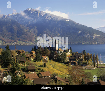 geography / travel, Switzerland, Bern, Spiez, city views, Spiez Castle, Lake Thun, Bernese Alps, Additional-Rights - Stock Photo