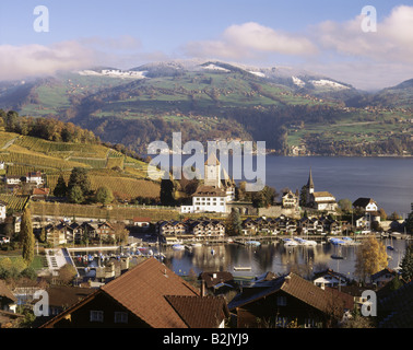 geography / travel, Switzerland, Bern, Spiez, city views, port, Lake Thun, Spiez Castle, Additional-Rights-Clearance - Stock Photo