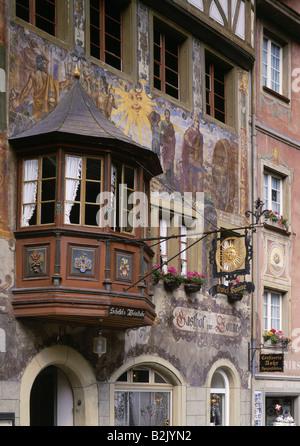 geography / travel, Switzerland, Schaffhausen, Stein am Rhein, gastronomy, guesthouse, 'Zur Sonne', exterior view, - Stock Photo