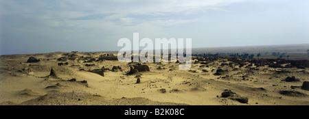 geography / travel, Egypt, Kom Aushim, Greek city Karanis, built 3rd century BC, view, ruin, ruins, ancient world, - Stock Photo