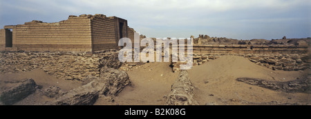 geography / travel, Egypt, Kom Aushim, Greek city Karanis, temple of gods Pnepheros und Petsuchos, built 3rd century - Stock Photo