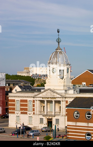 Architecture in harbour Southampton United Kingdom - Stock Photo