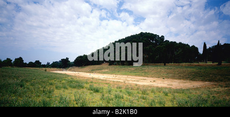 geography / travel, Greece, Olympia, excavation, ancient stadium, Additional-Rights-Clearance-Info-Not-Available - Stock Photo