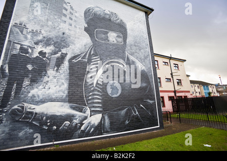The Petrol Bomber mural, by the Bogside Artists, depicting scenes from the Battle of the Bogside,  Bogside, Derry, - Stock Photo