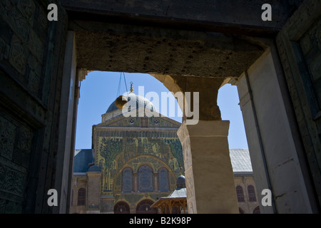 Entrance to the Umayyad Mosque in Damascus Syria - Stock Photo