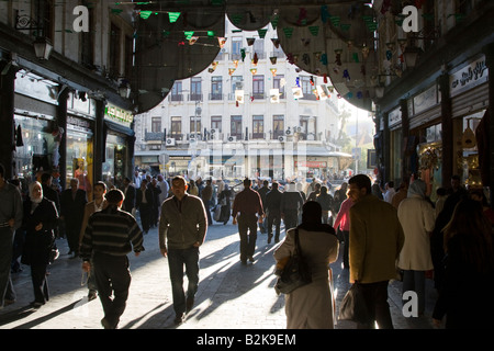 Entrance to the Hamidiyya Souq in Damascus Syria - Stock Photo