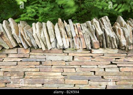 Dry stone wall at 'The National Botanical Gardens of Wales', Llanarthne, Carmarthenshire, Wales, UK - Stock Photo