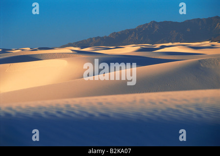 Sunrise shadows across White Sands National Monument in New Mexico USA - Stock Photo