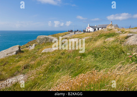 The first and last refreshment house in England at Lands End Cornwall England UK GB EU Europe - Stock Photo