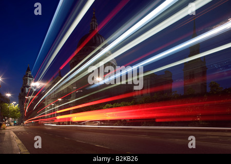 RED DOUBLE DECKER BUS SAINT PAULS CATHEDRAL LONDON ENGLAND UK - Stock Photo