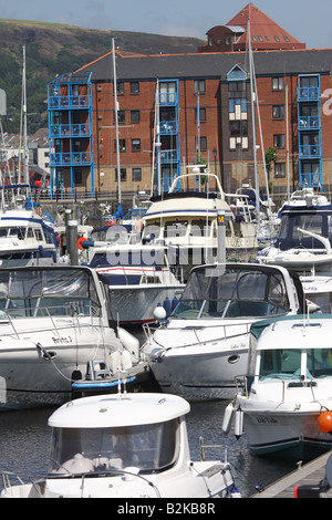 Boats Swansea Marina West Glamorgan - Stock Photo