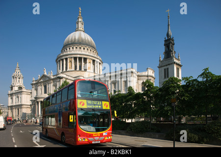 RED DOUBLE DECKER BUS SAINT PAULS CATHEDRAL LUDGATE HILL CITY OF LONDON ENGLAND UK - Stock Photo