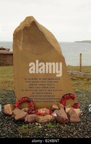 Russian Convoy Club Memorial Stone, Cove, Loch Ewe, Scotland UK - Stock Photo