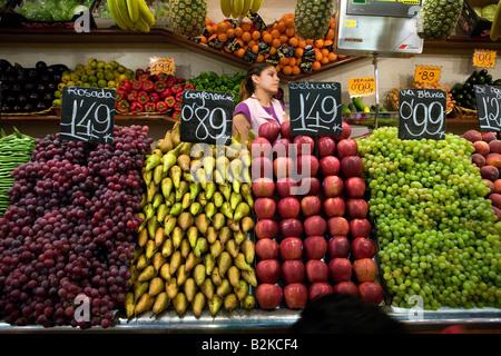 La Boqueria market in Barcelona, Catalonia, Spain - Stock Photo