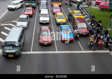 Busy traffic in downtown Bangkok. Thailand - Stock Photo