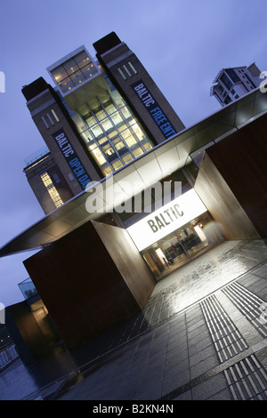 City of Newcastle, England. A dusk angled view of the entrance to the Baltic Centre for Contemporary Art, at Gateshead - Stock Photo