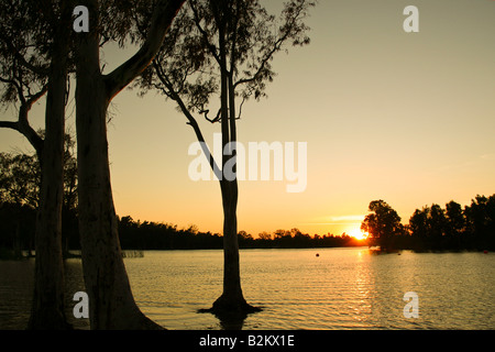 leisure place in the banks of a river lake - Stock Photo