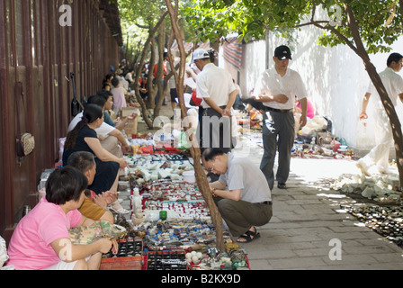 China, Suzhou, Traditional Market Outside Of Confucian Temple - Stock Photo