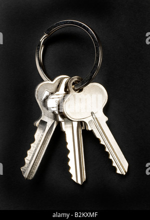 chrome keys on black - Stock Photo