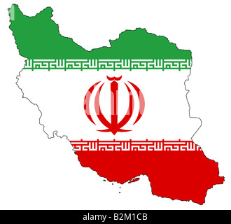 map and flag of iran - Stock Photo