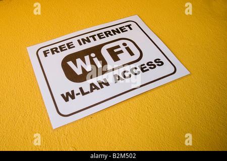 WiFi hotspot sign outside a bar in Cala Ratjada, Majorca, Spain - Stock Photo