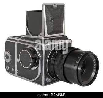 Old photographic camera with lens close up - Stock Photo