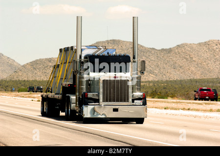 Truck on US highway between Las Vegas and Los Angeles - Stock Photo