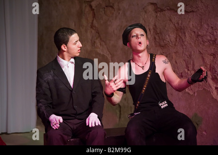 Actors Eyal Ackerman and Mandy Bakosh of the Martef Theatre in Faust by Johann Wolfgang von Goethe - Stock Photo