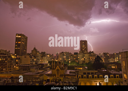 Electric lightning storm over BA - Stock Photo