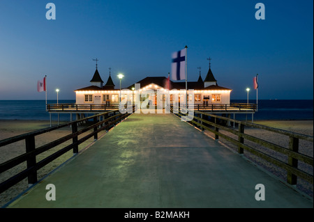 Historic pier, Ahlbeck seaside resort, Usedom Island, Mecklenburg-Western Pomerania, Germany, Europe - Stock Photo