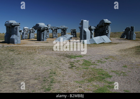 Carhenge, replica of England's Stonehenge, an artwork made from old scrapped cars, Alliance, Nebraska, USA pixstory - Stock Photo