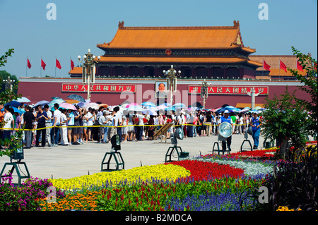 China Beijing Gate of Heavenly Peace in Tiananmen Square - Stock Photo