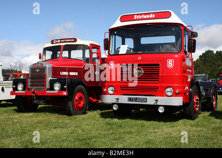 Vintage lorries. Scammell and Seddon tractor units at the Cromford Steam Engine Rally 2008 - Stock Photo