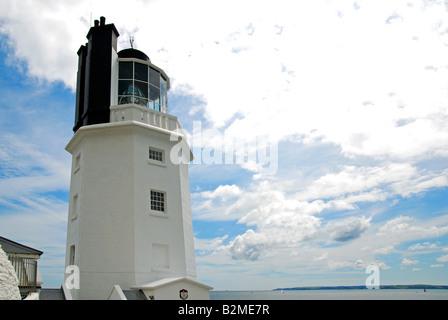 the lighthouse at st.anthony head on the roseland peninsula,cornwall,uk - Stock Photo