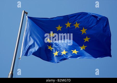 the european union flag flying in the breeze forte dei marmi versilia lucca northern tuscany coast italy europe - Stock Photo