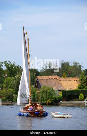 Wooden sailboat on River Bure, Horning, Norfolk Broads, Norfolk, England, United Kingdom - Stock Photo