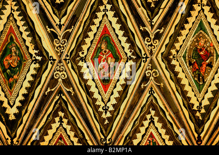 Peterborough cathedral, painted wooden ceiling - Stock Photo