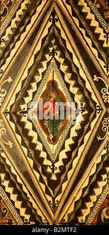 Peterborough cathedral, painted wooden ceiling detail - Stock Photo