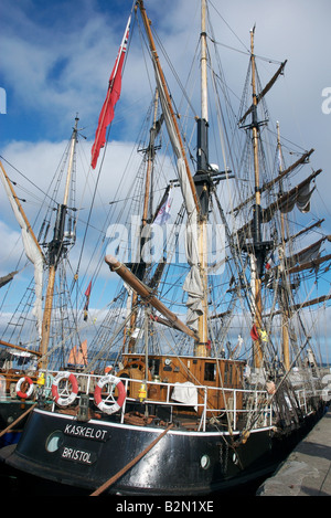 The three masted barque Kaskelot in harbour, Brest 2008 Maritime Festival France - Stock Photo