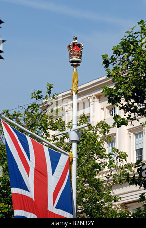 Crown and Union Jack, the Mall, London - Stock Photo