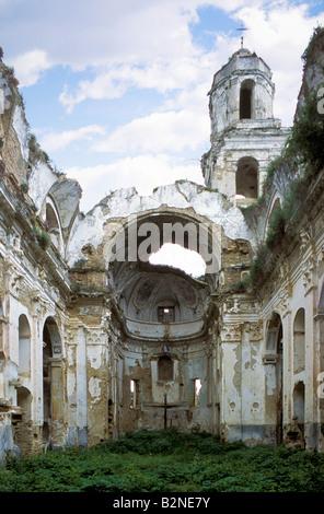 cathedral ruins, bussana vecchia, italy - Stock Photo