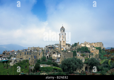 village view, bussana vecchia, italy - Stock Photo