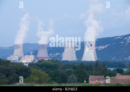 Nuclear power plant Cruss Meysse in the Rhone river valley at dawn Montelimar France Europe EU, cooling towers emiting - Stock Photo