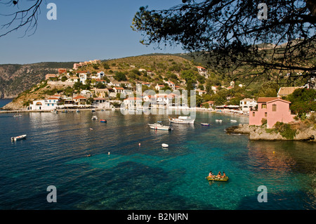 Looking down on the harbour and village of Assos in Northern Cephallonia Greece - Stock Photo