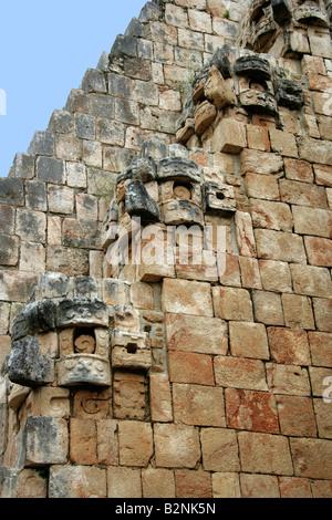 Mayan Architectural Decorations, Uxmal Archeological Site, Yucatan Peninsular, Mexico. - Stock Photo