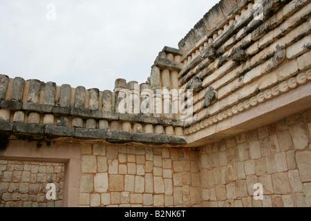 Quadrangle of the Birds, Maya Ruins, Uxmal Archeological Site, Yucatan Peninsula, Mexico - Stock Photo
