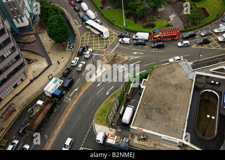 Aerial view looking down on traffic and road junction to St James Barton roundabout Bristol UK - Stock Photo