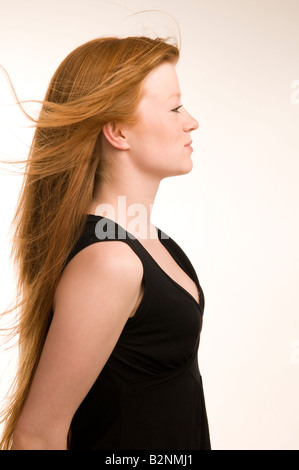 Young Red Haired Irish Girl Woman With A Cigarette In Her